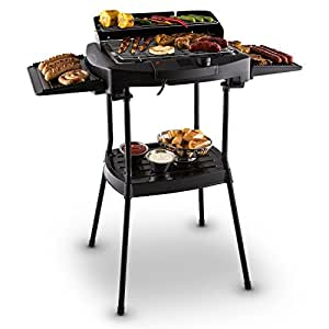 oneConcept Dr.Beef griglia elettrica da tavolo e barbecue per esterni (BBQ con supporto installabile, 2000w, regolazione della temperatura tramite termostato, superficie di 900cm²) - nero
