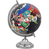 Globeskart Educational/Antique Globe With Chrome Finish Arc And Base / World Globe / Home Decor / Office Decor / Gift Item / 8 Inches (Black Country Map)