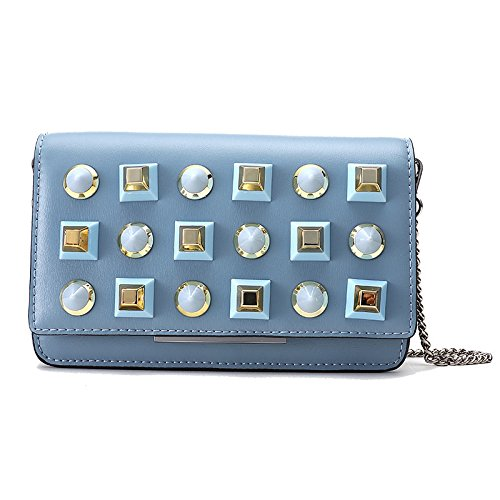 Mefly Die Neue Mode Handtaschen Kette Schulter Leder All-Match Trend Blue