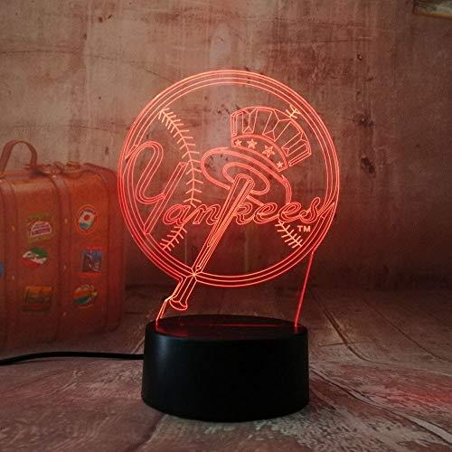 Lixiaoyuzz 3D Nachtlampe Baseball Team Logo New York Yankees Fans Nachtlampe Led Bunte Gradienten Atmosphäre Lampe Kind Geschenk