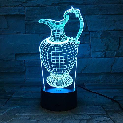 DONG Blumenvase Flasche 3D Illusion Fernbedienung Licht Acryl Nachtlampe USB Schlaf Leuchte 3AA Matte, LED Schreibtisch Tisch Nachtlicht Lampe