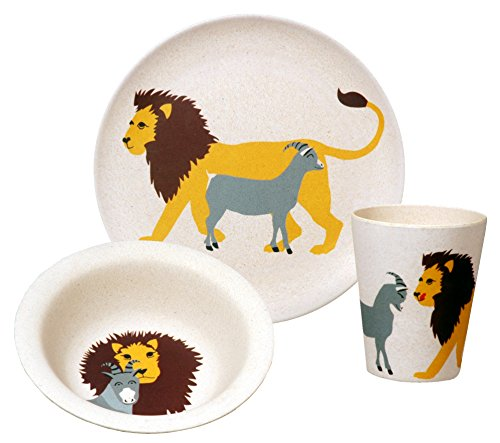 zuperzozial Kinder - BIO Hungry Lion Set Teller+Schüssel+Becher