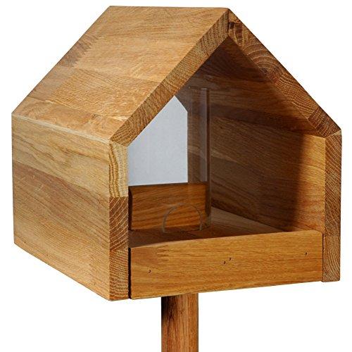 Luxus-Vogelhaus 46601e Eiche-Vogelfutterhaus mit Ständer, Satteldach, Futtertablett und Silo - 3