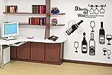 ufengke home Vinos y Copa de Vino Pegatinas de Pared con Adhesivo Vinilo Decorativo Pared Letras Sobre el Vino Grande Calcomanías de Pared de Vinilo de DIY Extraíble Cocina, Comedor Mural