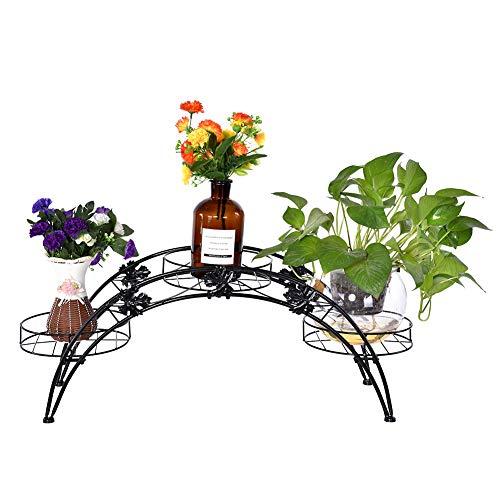Zoternen Blumenständer für drinnen und draußen, Metall, Bogenform, Gartendekoration, Blumentopfregale, für drinnen und draußen, mit 3 Blumentopf-Halterungen