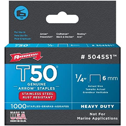 Arrow T50 Staples Box 1000 - Stainless Steel 504Ss 6Mm 1/4In