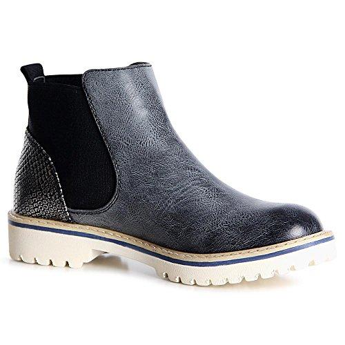 topschuhe24 1098 Damen Stiefeletten Chelsea Boots Booties Schwarz