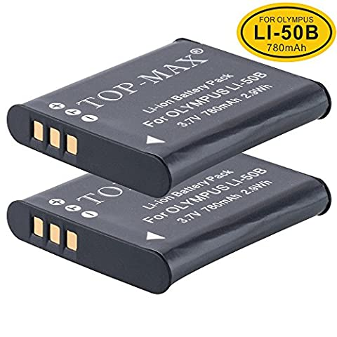2-Pack Olympus Li-50B Lithium-ion Battery for Olympus Li-50b / Li-50b Li-ion Rechargeable Battery for Select Mju / Smart / Stylus / Tough Digital Camera + Select DM Series Voice & Music Recorder (Models Stated Below)