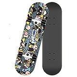 DWEMM Skater Skateboard Komplettboard, 80x20 cm Skate Board Mit Deck Und Blinkenden LED-Rollen, Cruiser-Board Mit LED Leuchtrollen,für Erwachsene Kinder Jungen Mädchen