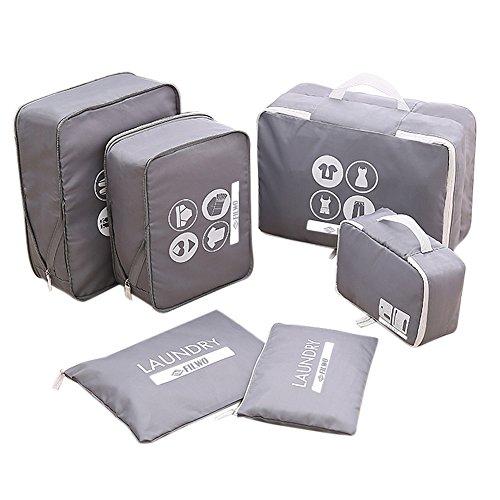 FILWO Waterproof Organizer Valigia Set di 6 Cubo di Viaggio con Multi-compartimenti 1 Borsa da Toilette + 2 Lavanderia Sacchetti + 3 Bagagli Organizzatori per Vestiti ( Grigio )