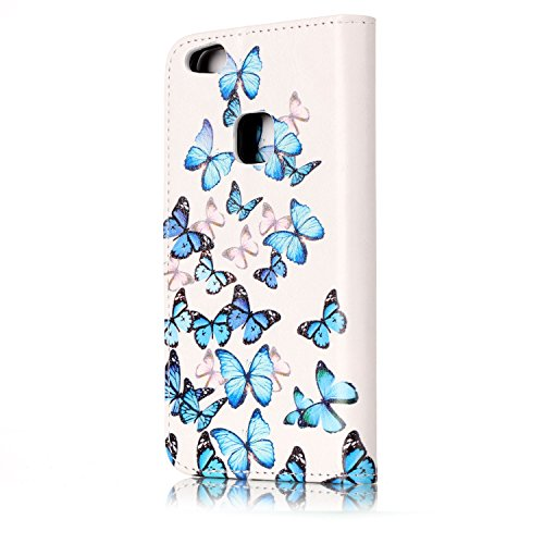 Felfy Coque pour Huawei P10 Lite,Huawei P10 Lite Case Leather,Huawei P10 Lite Etui Housse PU Cuir Cover Flip Portefeuille Housse de Protection élégant Jolie Fille Coque Couleur Étui Case Cover avec Bl Papillon Bleu Case