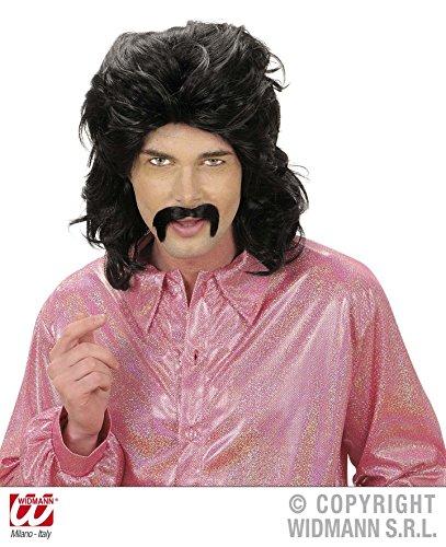 PERÜCKE - 70er JAHRE MAN - schwarz mit Schnurrbart *** NATURAL LOOK (Hippie Mit Mann Und Perücke Schnurrbart)