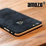 #3: amozo® Decorative Protective Film Suede Skin Case Cover for Apple iPhone 6 Plus / 6S Plus (Black)