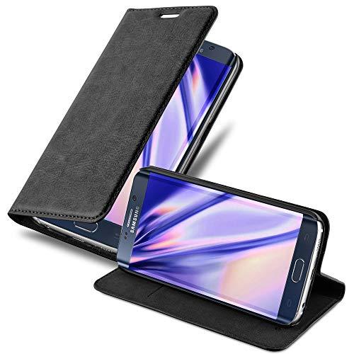 Cadorabo Hülle für Samsung Galaxy S6 Edge Plus - Hülle in Nacht SCHWARZ - Handyhülle mit Magnetverschluss, Standfunktion und Kartenfach - Case Cover Schutzhülle Etui Tasche Book Klapp Style