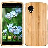 kwmobile Custodia in legno per LG Google Nexus 5 Cover legno naturale bambù - Case rigida per cellulare marrone chiaro