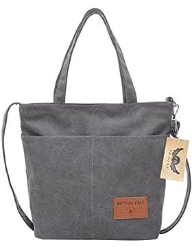 PB-SOAR Damen Vintage Canvas Shopper Handtasche Schultertasche Umhängetasche Freizeittasche 28 x 34 x 13cm(B x...