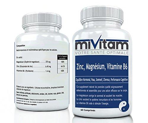 ZMA : Zinc, Magnésium, Vitamine B6: SOUTIEN la peau, les ongles, les cheveux, le sommeil, les hormones, BOOSTE l'énergie, performance cognitive et concentration