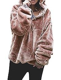 Yazidan Damen Flauschige Sweatshirt Warm Outwear Lange Ärmel Strickjacke Kapuzenpulli Übergröße Outwear Vlies Mantel Pure Farbe Solide Sweatshirt Sport Jacke Bandage Outfits Kleidung(Rosa,L)