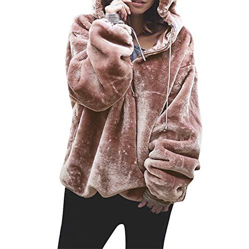 (Damen Fleecejacke Sweatjacke Jacke Mit Kapuze Oversize Teddy Hoodie MYMYG Kapuzepullover Kapuzejacke Fleece Pullover Warme Flauschjacke Wintermantel(A1-Rosa,EU:38/CN-L))