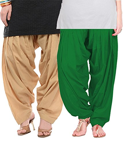 NGT Beige And Green Pure Cotton Patialas For Womens
