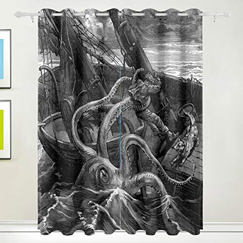 XiangHeFu Morden Blackout Vorhänge mit Tülle Top Ocean Octopus Attack Boat Vorhänge Set aus 2 Panels, jeweils 55W x 84L Zoll für Home Living Bedroom Office (84-zoll-dusche Vorhang Braun)