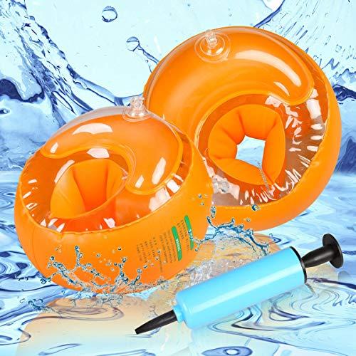 LAOYE Schwimmhilfe Kinder Schwimmflügel für Anfänger, 1 Paar Orange Schwimmhilfen mit Dreikammersystem, empfohlenes Körpergewicht 6 bis 20kg