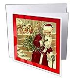 3DROSE GC 8039_ 16x 15,2cm'Babbo Natale e bambini vintage cartolina di auguri (confezione da 6)