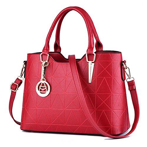 fanhappygo Fashion Retro Leder Damen OL Pendler Schulterbeutel Umhängetaschen Abendtaschen Rot
