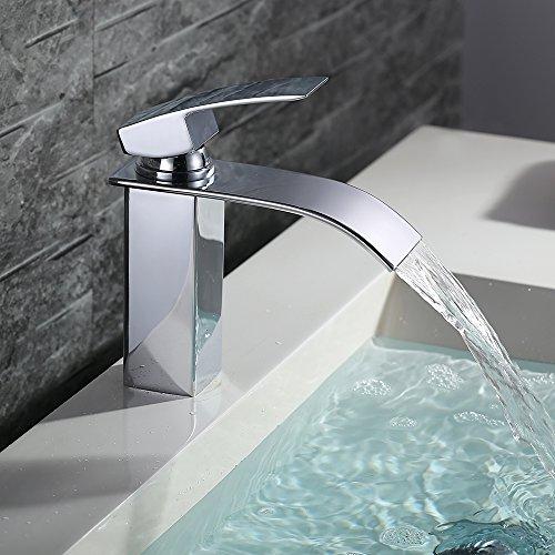 Homelody - Einhebel-Waschtischarmatur, ohne Ablaufgarnitur, Wasserfallarmatur breite Form, Chrom