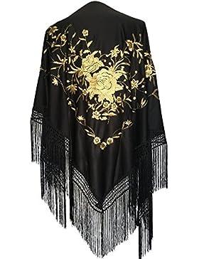 La Senorita - Chal - para mujer Negro negro y dorado Large