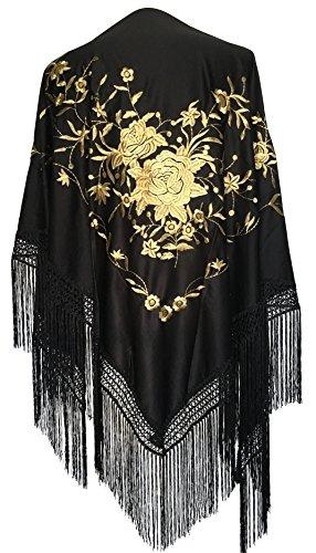 La Señorita Mantones bordados Flamenco Manton de Manila negro flores oro Large