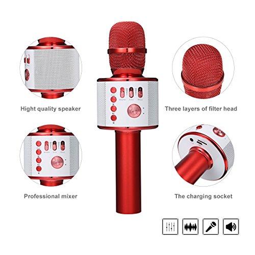 Bluetooth Karaoke Mikrofon, NASUM,tragbare drahtlose Mikrofon mit Lautsprecher für Erwachsene und Kinder für Sprach- und Gesangsaufnahmen,kompatibel mit Android /IOS, PC oder Alle Smartphone - 2