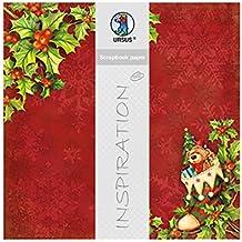URSUS 703000213No Premium Glitter Scrapbook Paper Happy Christmas, aprox. 30,5x 30,5cm, 5hojas, diseño 213