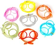 Decdeal الإبداعية المرح نظارات سترو مجنون تصميم DIY سخيفة مضحك الكرتون البلاستيك هدية للأطفال