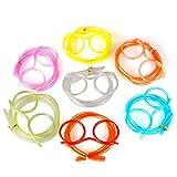 Decdeal 10 Stück Brillen Trinkhalme Trinkbrille Strohhalm für Party Zufällige Farbe