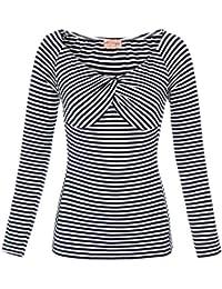 97e927258c Belle Poque Women Vintage 1950s Comfy Long Sleeve V-Neck Off Shoulder  T-Shirts