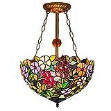 K.D. Tiffany-Stil Chandelier, European Retro Grape Art Stained Glass Ceiling Lamp Creative Gems eleganten Lamp Restaurant Corridor 16 Zoll E27 Chandelier