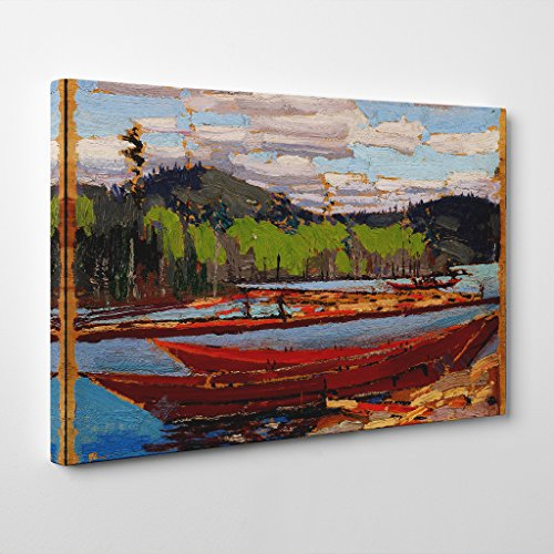 BIG Box Art Tom Thomson Bateaux Canvas Print, Multi-Colour, 24 x 16-inch