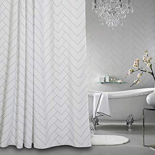 Aimjerry Hotel Qualität Weiße Schimmelresistent Stoff Duschvorhang Für Bad,Wasserabweisend -
