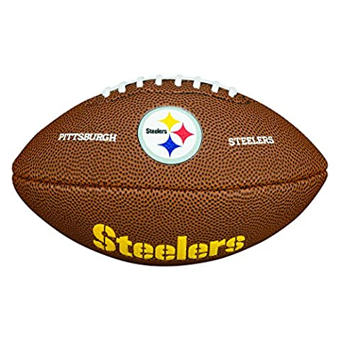 Wilson American Football, NFL Certified, Recreational Use, Mini Size, NFL TEAM LOGO PITTSBURGH STEELERS, Brown, WTF1533XBPT