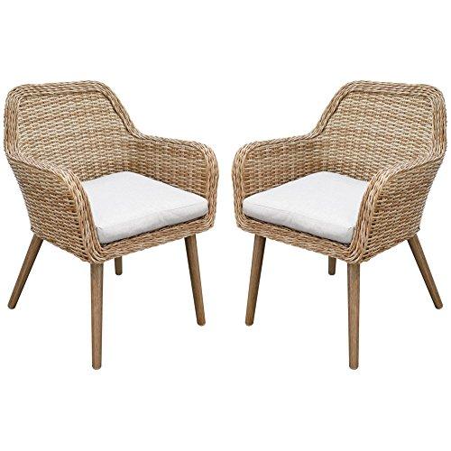 Testrut 2er Sessel-Set Mallorca, inkl. Auflagen in Grau, robuste Polyrattan-Sessel, Garten-Stuhl mit hochwertigem Aluminumgestell, Halbrundgeflecht aus Polyethylen, witterungsbeständig, braun