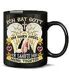 Papa Hand Ich bat Gott um einen Engel er sandte Mir Meine Tochter 5379 Baby Kind Mädchen Tasse Becher Geburtstagsgeschenk Schwarz