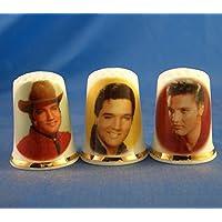 Porcelana China colección de dedales Juego de tres Elvis Presley