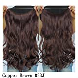 Secret Halo Hair Extensions Flip in Curly Wavy Hair Extension Synthetic Women Hairpieces 20 (Copper Brown #33J) by SY
