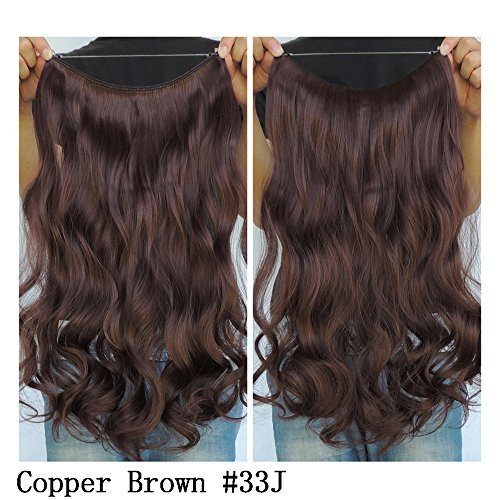 Secret Halo Hair Extensions Flip in Curly Wavy Hair Extension Synthetic Women Hairpieces 20 (Copper Brown #33J) by SY (Brown Halo Extensions Hair)