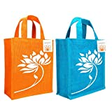#4: INDOZY Multipurpose Jute Bags for Women and Men (Lotus Orange+Blue)
