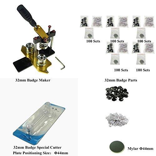 Sunshine 32mm Drehen Typ Manuelle Badge Maker Badge & Button Maschine Kit Stamping für Plastic-Back Badge Teile 500sets (Abzeichen Button Maker Maschine)