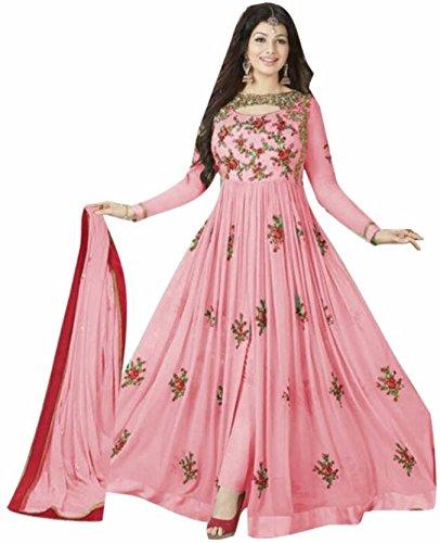 Fkart Women's Georgette Embroidered Semi-Stitched Salwar Suit (Fk-Avonpink_Pink_Free Size)