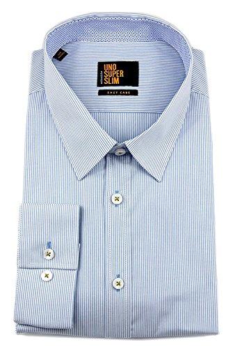 Seidensticker Herren Langarm Hemd UNO Super Slim Stretch Kent Collar blau / weiß gestreift mit Patch 573756.11 Blau