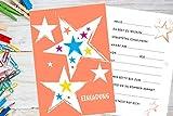 8 Stück Einladungskarten Kindergeburtstag mit Stern